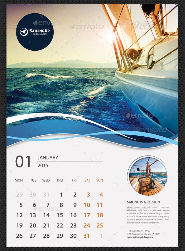 25 Best 2016 Calendar Templates to Print – Calendar Sample Design