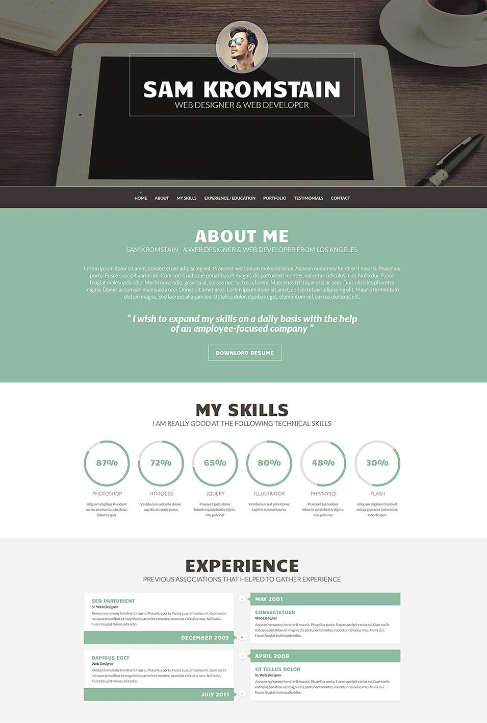 Web Developer CV WordPress Theme