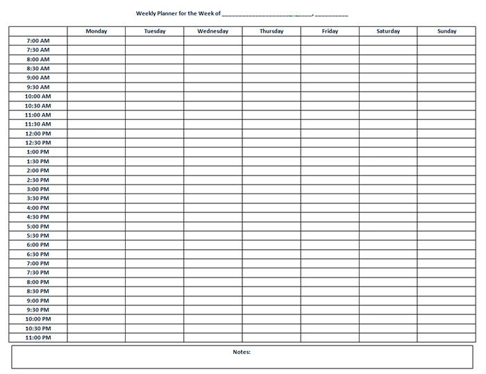 Weekly Hourly Calendar Template | great-printable-calendars