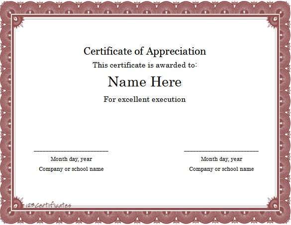 Certificate Of Appreciation Template Free Word  Ninja