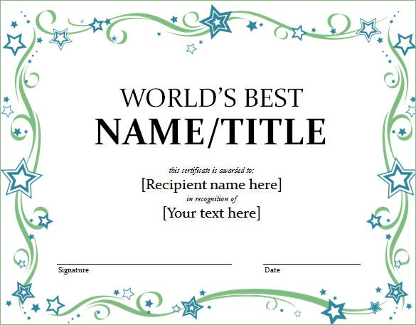 Word certificate template 49 free download samples for Editable certificate template