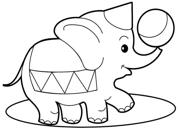 baby elephant coloring page template