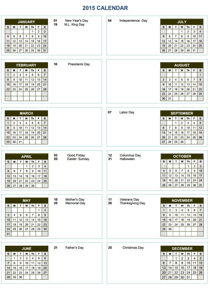 40 Free Premium Calendar Template Designs 2015 Free Premium