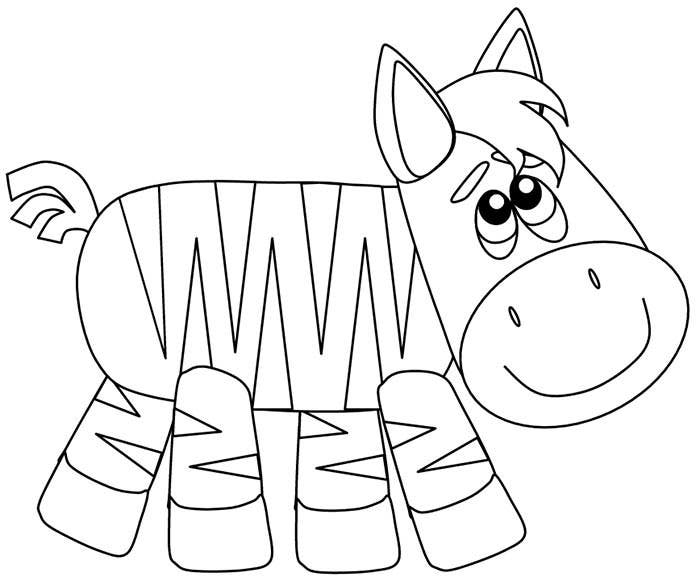 cartoon zebra coloring page template