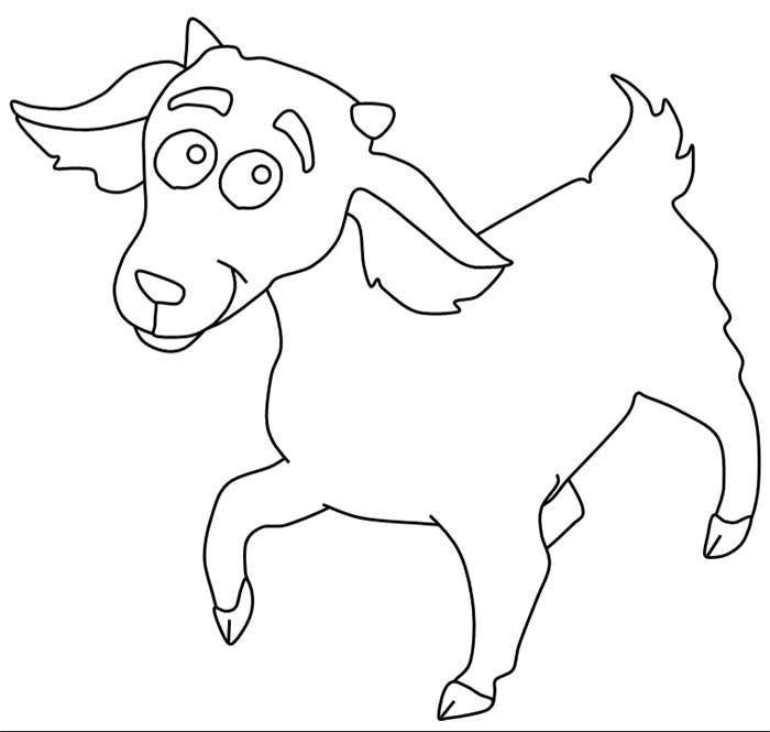cute little goat coloring page template