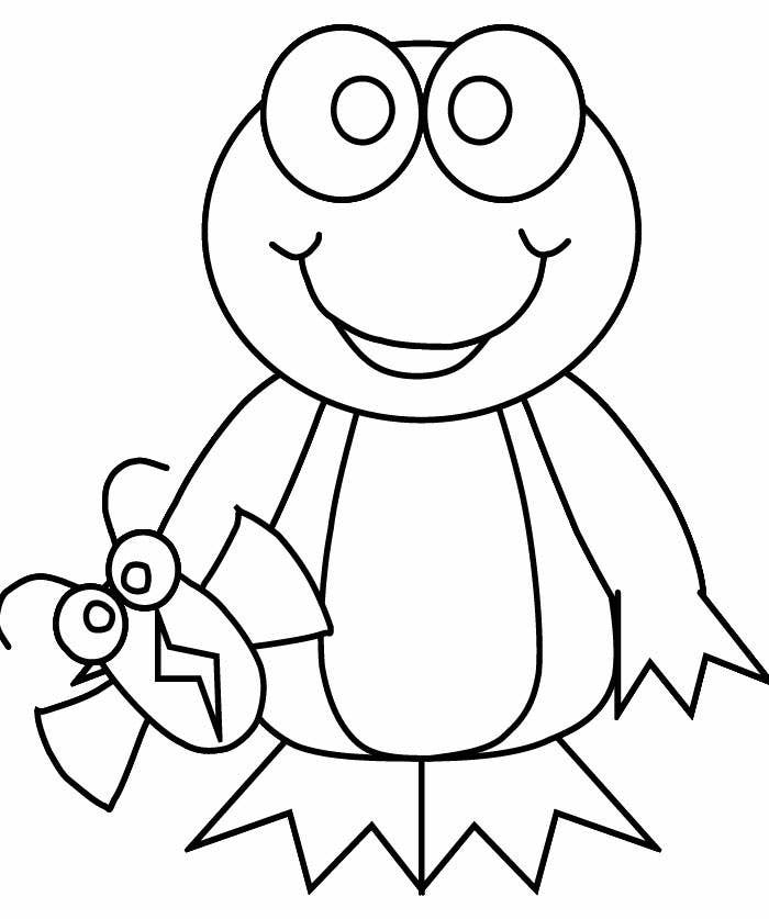 funny frog coloring page template