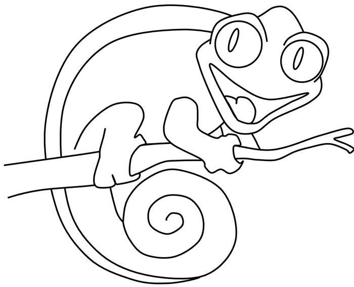 funny lizard coloring page template