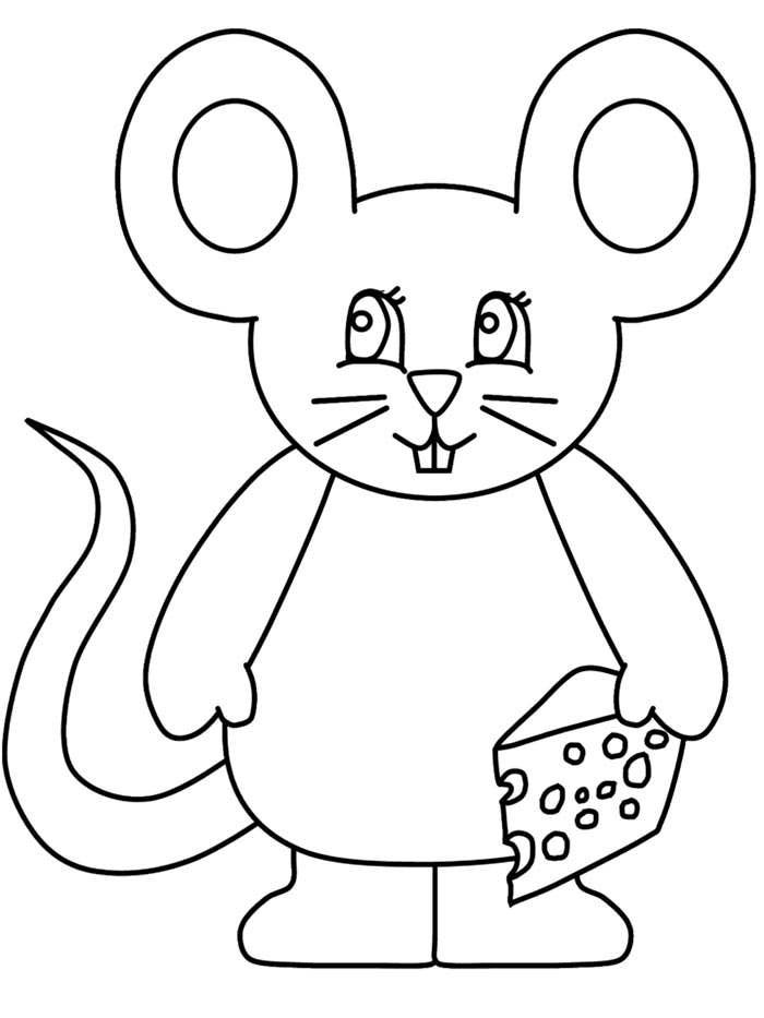 funny mouse coloring page template