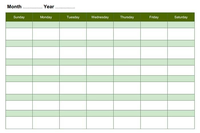 monthly blank calendar landscape