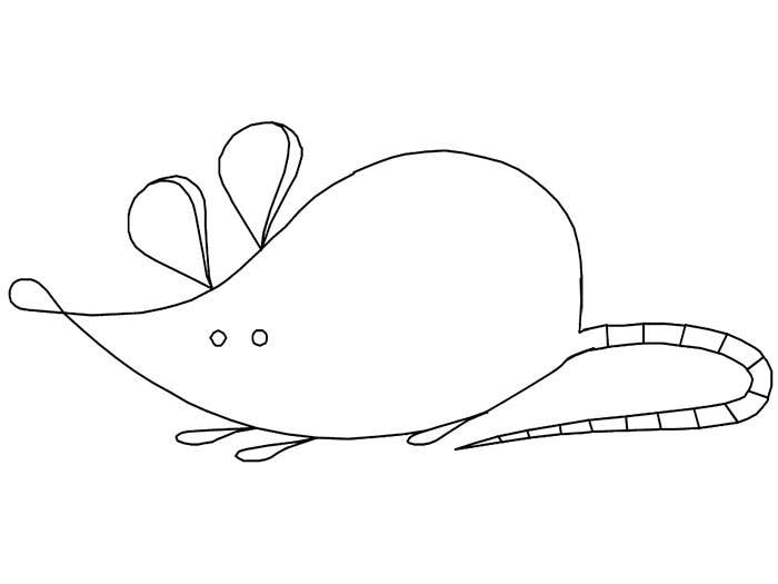 mouse coloring page template