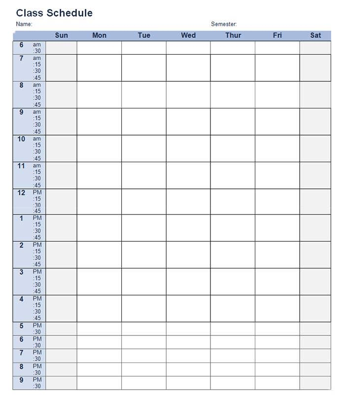 student training schedule template