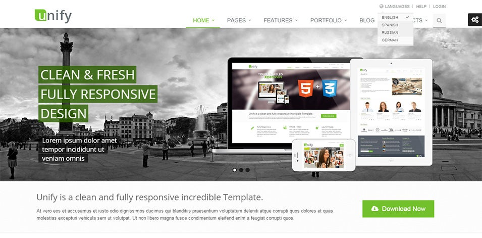 unify responsive website template