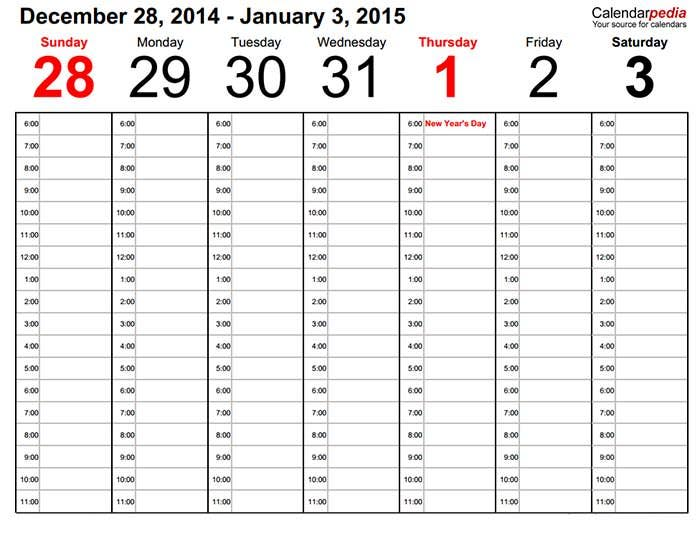 weekly calendar 2015 landscape time management