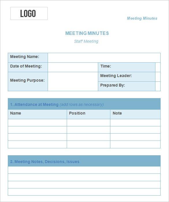 format of minute of meeting