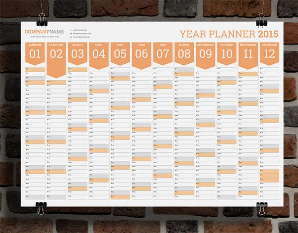 year wall planner template
