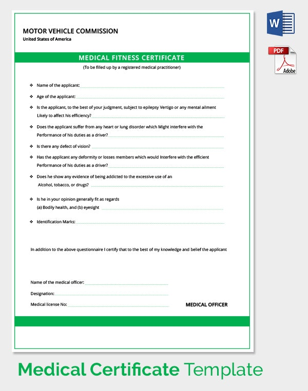 Medical Certificate For Motor Vehicle Driver