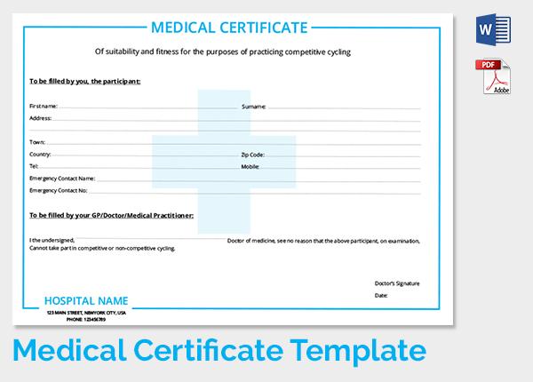 medical certificate template 20 free word pdf
