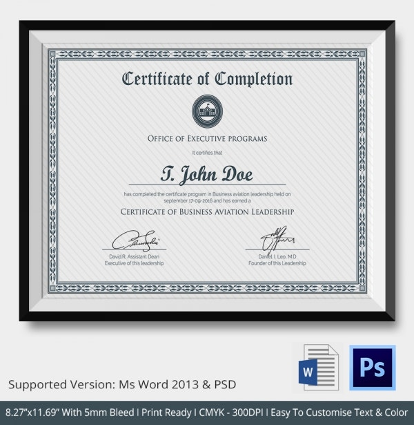 Sample school certificate free printable certificates certificate certificate of completion template free word pdf psd eps yadclub Images