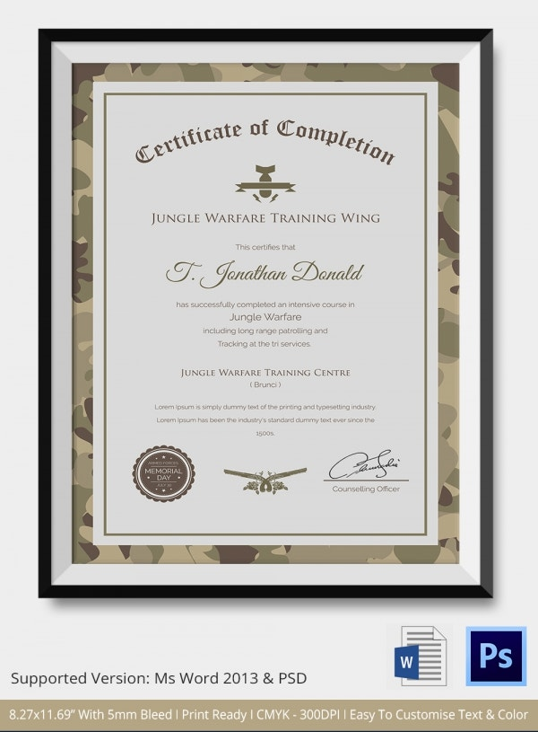 Certificate of completion template 31 free word pdf for Army certificate of completion template