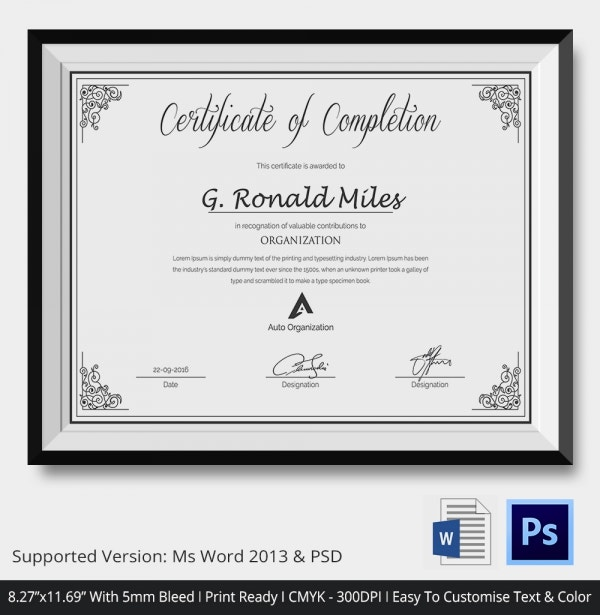 Custom Made Certificate Design for Complition of Course