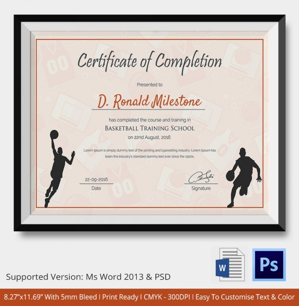 Basketball Certificate of Completion Download