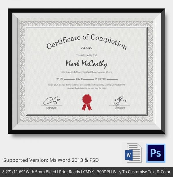 Certificate of completion template 31 free word pdf for Certificate of completion template free download
