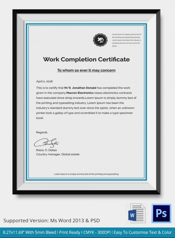 Work Completion Certificate Template Download