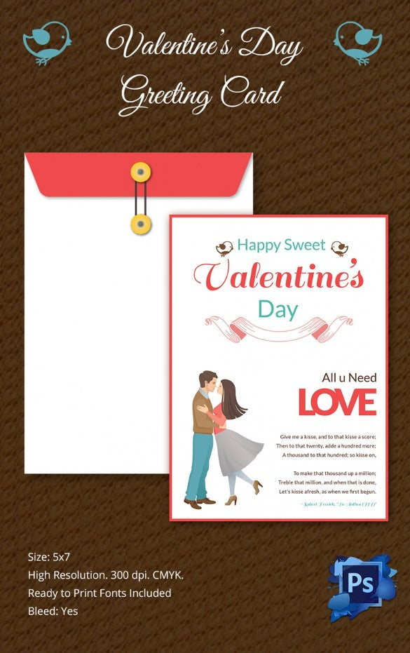 Beautiful Valentines Day Greeting Card Template