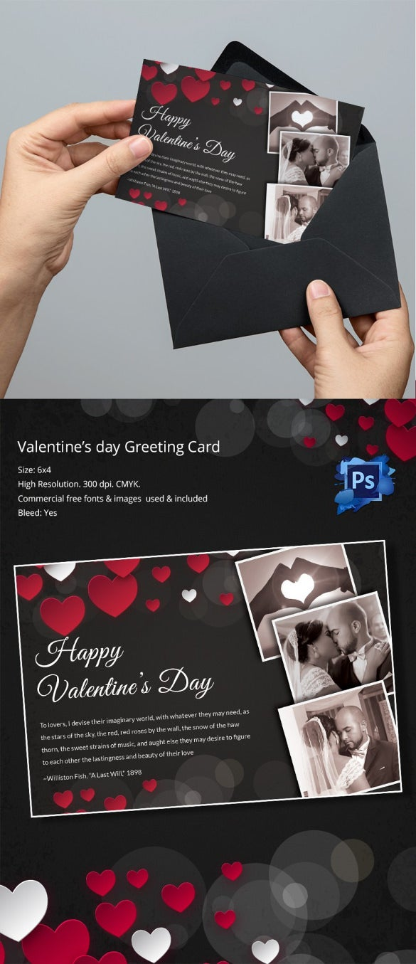 Flexible Greeting Card Template For Valentines Day Tem