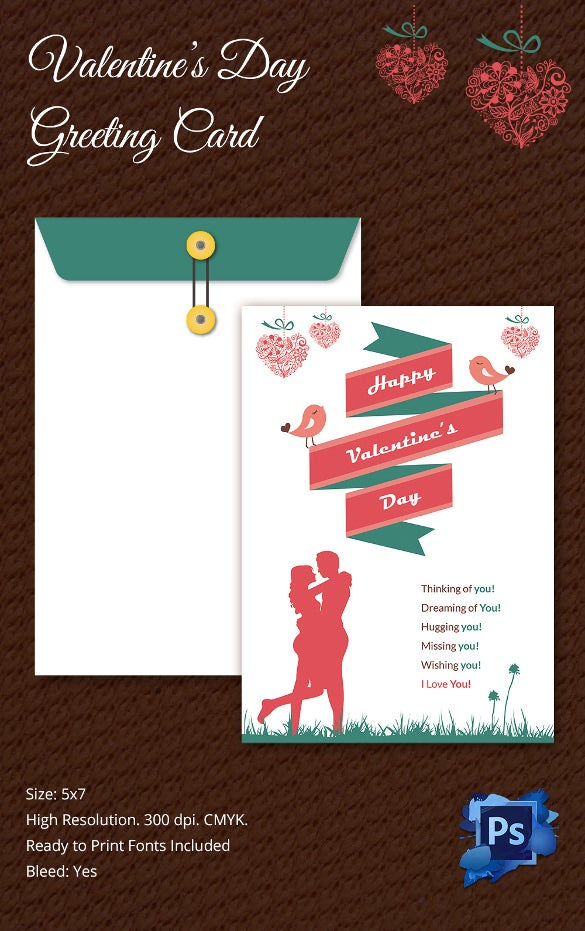 Superb Printable Valentines Day Greeting Card Template