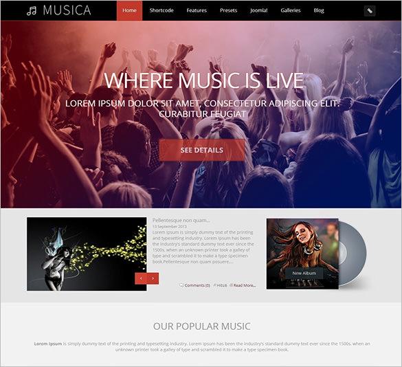 musica musical joomla premium template