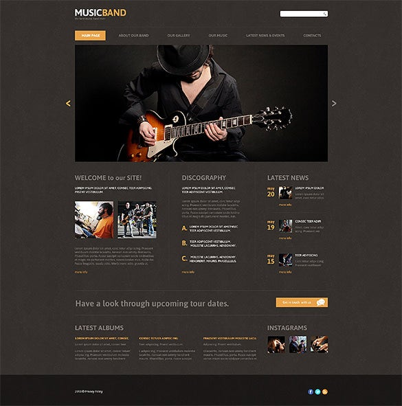 music band responsive joomla template download