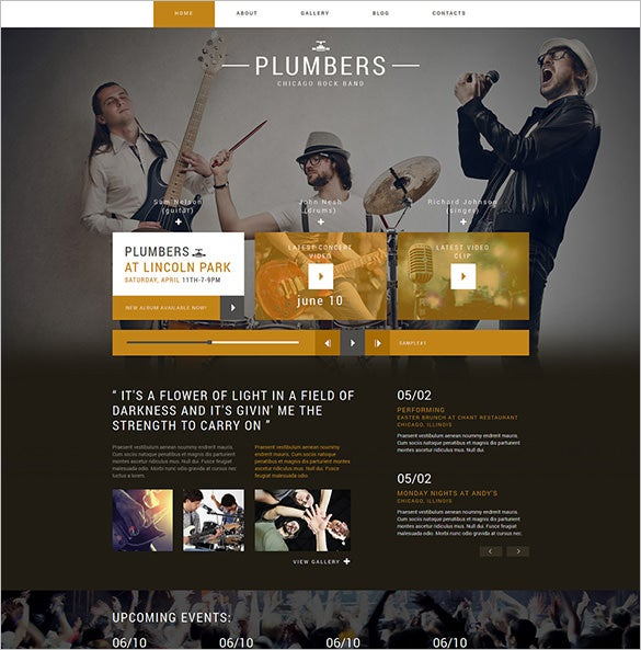 rock band project joomla template