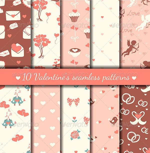 10 cute valentines seamless patterns