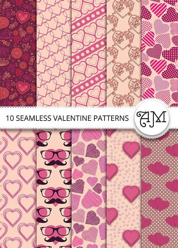 10 seamless valentine vector patterns