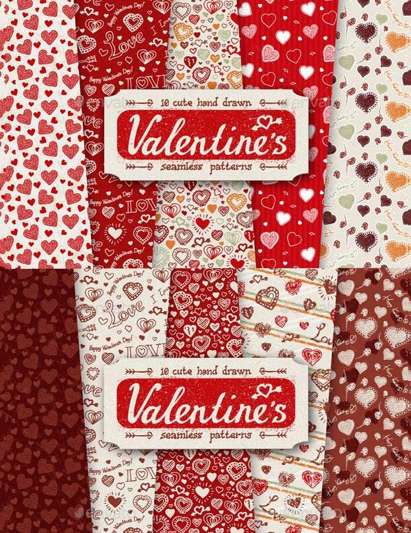10 valentines day pattern set
