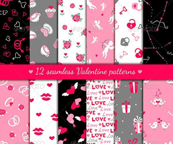 12 black background valentines seamless patterns