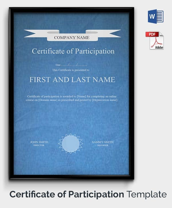 49 Free Printable Certificate Template Examples in PDF Word – Certificate of Participation Template