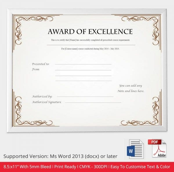 52 free printable certificate template examples in pdf for Certificate of excellence template