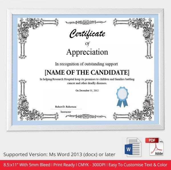 pastor appreciation certificate template free - 52 free printable certificate template examples in pdf