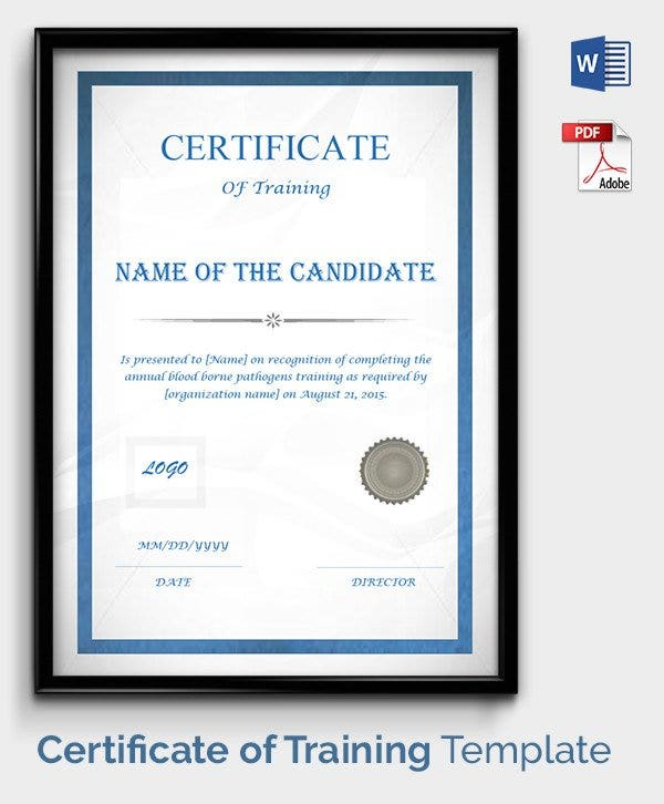 Certificate Templates: Certificate Of Training Template