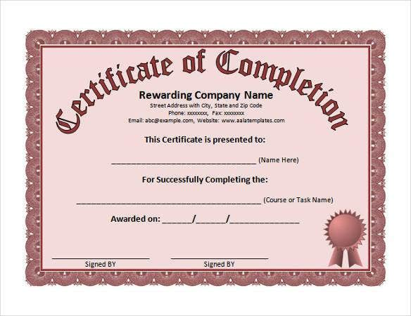 Exceptional Themes For Certificate Of Completion Word Template Pertaining To Certificate In Word