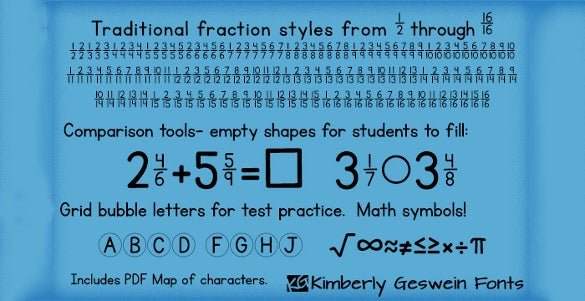 free kg traditional fractions number font