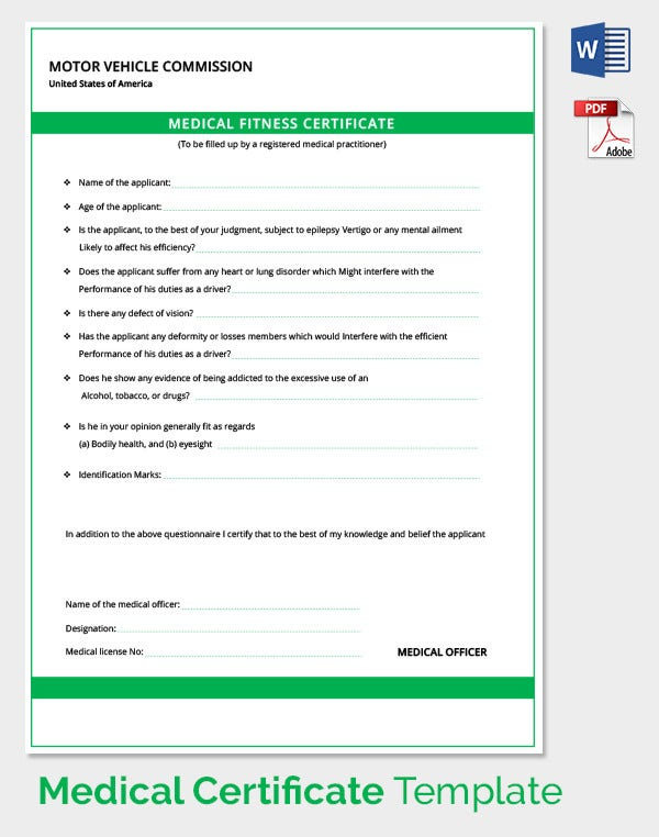 Doc600600 Medical Certificate for Sick Leave Medical – Medical Certificate Template