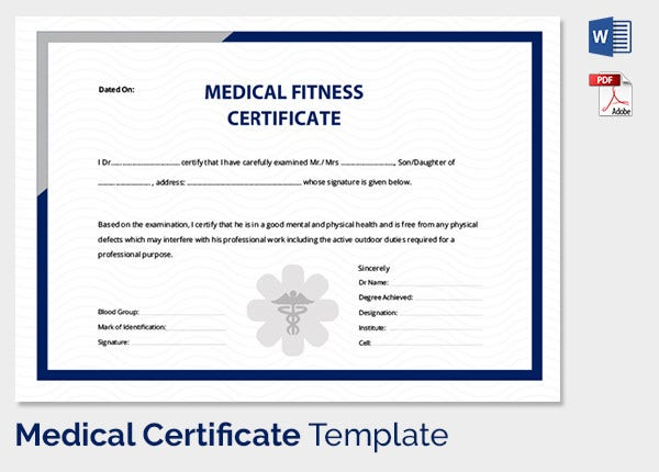Medical Certificate for Employee Fitness