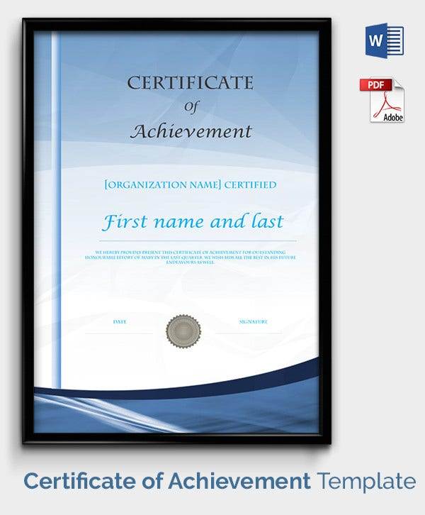 Blank Certificate Of Achievement Template  Free Certificate Of Achievement