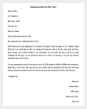 Editable Employment Interview Offer Letter