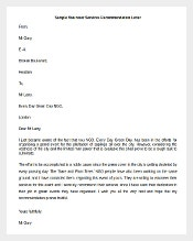 Volunteer Services Recommendation Letter Template
