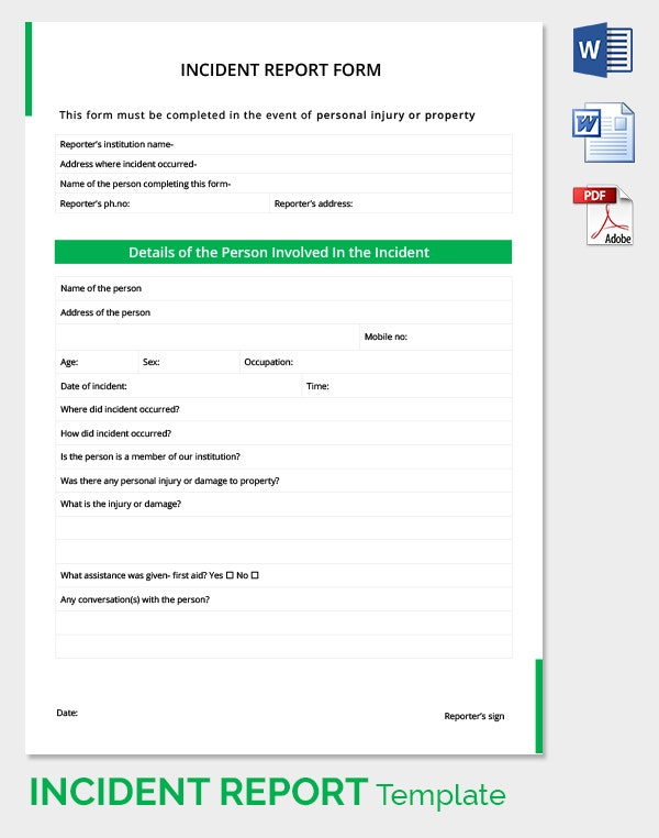 Details Of The Incident Report Template