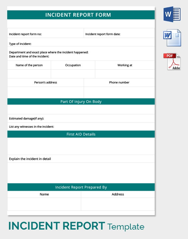 incident report word template – Word Template Report